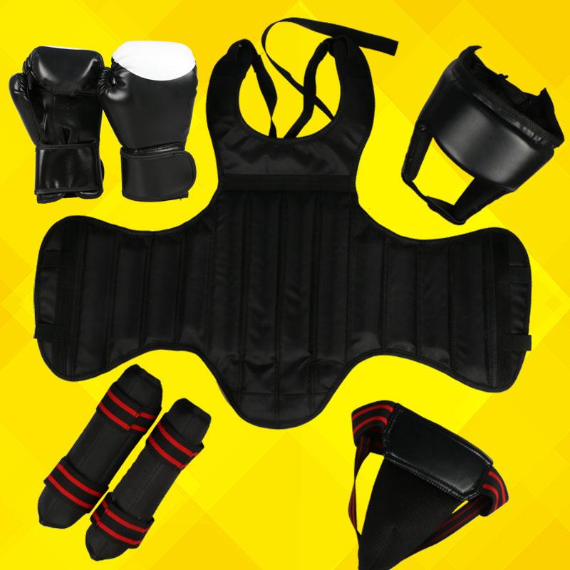 MMA protectors Grappling guards Sanda protective gear full set 5 Protectors boxing glove Helmet chest shin groin guards