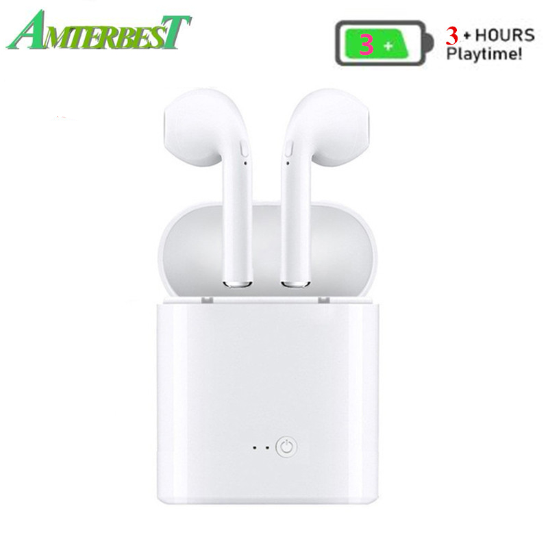 Amterbest I7 Mini Upgraded Tws Wireless Bluetooth Kopfhörer Stereo Ohrhörer Headset Mit Lade Box Mic 3 Hous Musik Spielen Zeit Clear-Cut-Textur