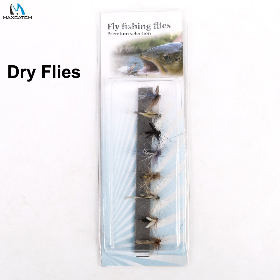 Maximumcatch Fly Fishing Dry Flies #14 Assortment 8 Patterns Deluxe Kit mnft 10pcs 14 dry flies economic fly selection fishing lures golden wire yellow zebra body fishing flies