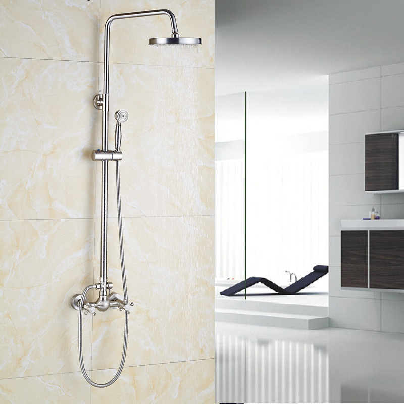 Brushed Nickel Bathroom Shower Faucet 8 Brass Shower Head Wall Mounted