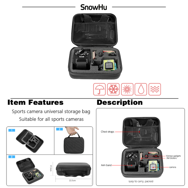 Gopro Accessories Camera Bag Camera and Accessories Unisex Brand Name: SnowHu