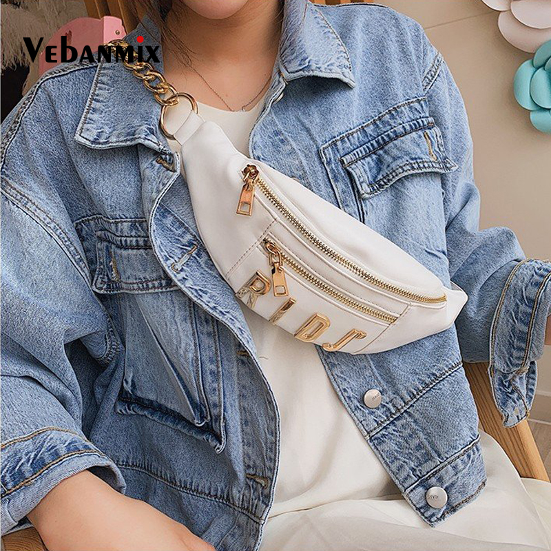 Waist Bags For Women 2019 Fashion Design Brand Leather Lady Belt Bags Letter Chains Fanny Pack Female Chest Bag Crossbody Bag