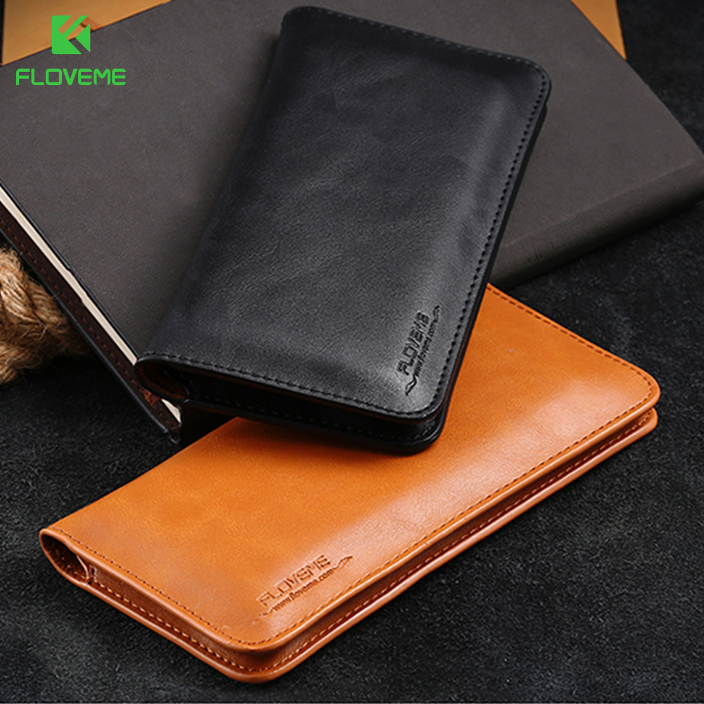 FLOVEME Universal Genuine Leather Wallet Case For iPhone X 10 6s 7 8 Plus For Samsung Galaxy Note 8 S8 S9 Plus S7 S6 Pouch Bag