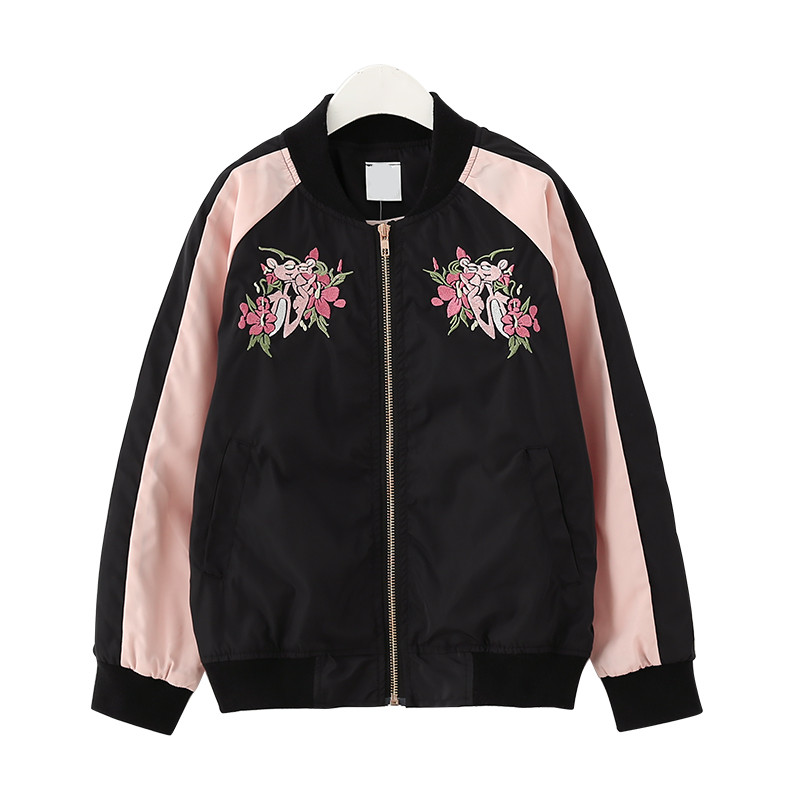 8 to 16 years kids & big teenager girls fashion embroidery flower rib hem bomber jacket children casual fall autumn jackets women s embroidery bomber jacket 2017 autumn high quality floral printed jacquard black