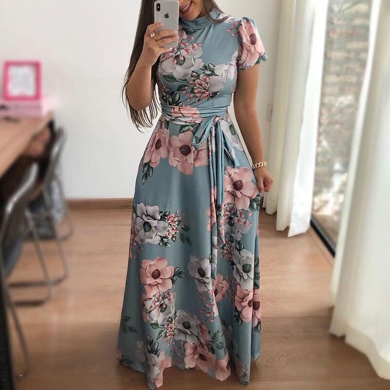 2018 New Fashion Summer Boho Vintage Dresses Women Casual Elegant Party Dress Floral Print Short Sleeve Tie Waist Maxi Dress