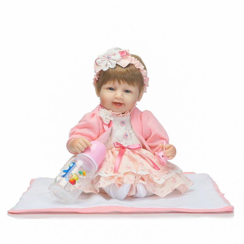 Nicery 16-18inch 40-45cm Bebe Doll Reborn Soft Silicone Boy Girl Toy Reborn Baby Doll Gift for Children Pink Yellow DressNicery 16-18inch 40-45cm Bebe Doll Reborn Soft Silicone Boy Girl Toy Reborn Baby Doll Gift for Children Pink Yellow Dress