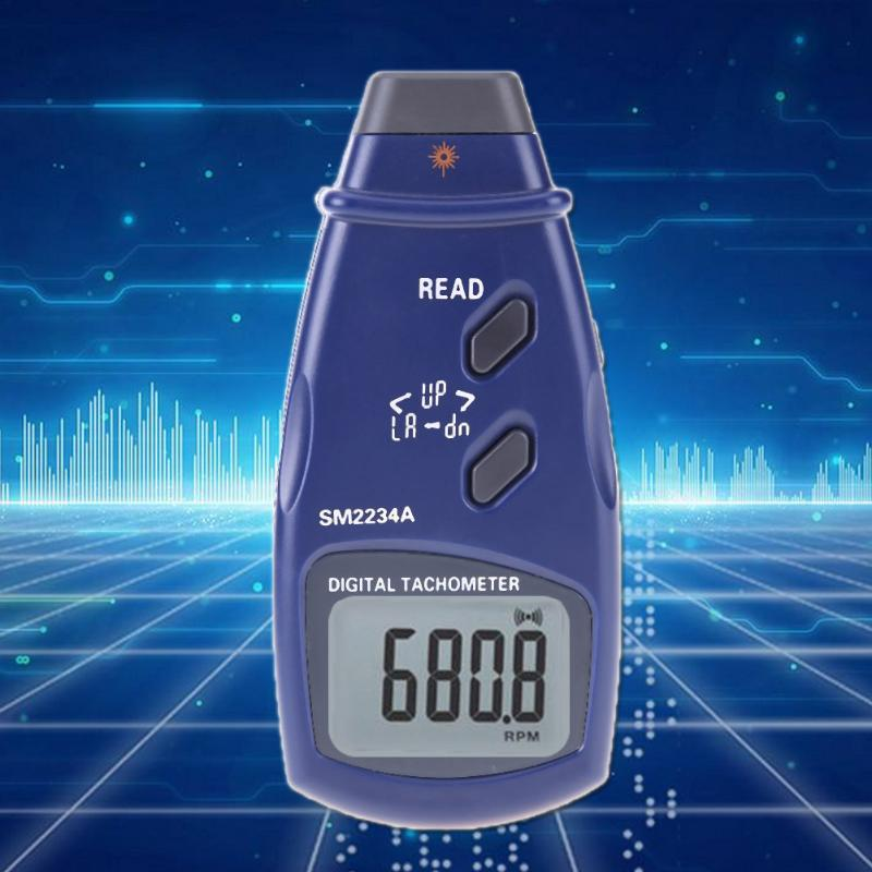 Mini Tachometer Optoelectronic LCD Display Digital Photo Laser Contact 5 Counts RPM Tachometer Meter