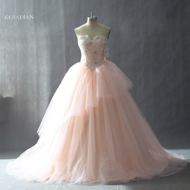 b9942636 Flesh Pink Quinceanera Dresses Scoop Beaded Ruffles Vestidos De 15 Anos  Ball Gown Sweet 16 Dress Sparkly Beading 2018 Bow Belt