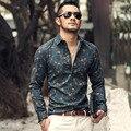 Chegada nova primavera verão 2016 masculino magro de manga comprida camisa estampa Floral Plus Size camisas Casual S-XXL dos homens moda Tops W414