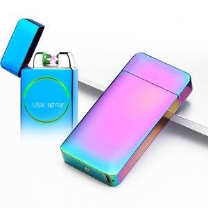 Nuevo mechero eléctrico de doble pulsación, creativo mechero de Plasma con carga USB para encendedor de cigarrillos, tabaco y humo