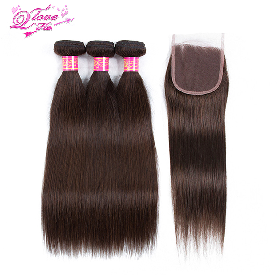 Queen Love Hair Pre-colored 3 Bundles With Closure 100% Human Hair #2 Color Mongolian Hair Non Remy Bundles Hair Extensions