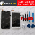 For LENOVO S850 LCD Display + Touch Screen 100% New Glass Panel Digitizer Assembly Replacement Repair Free shipping