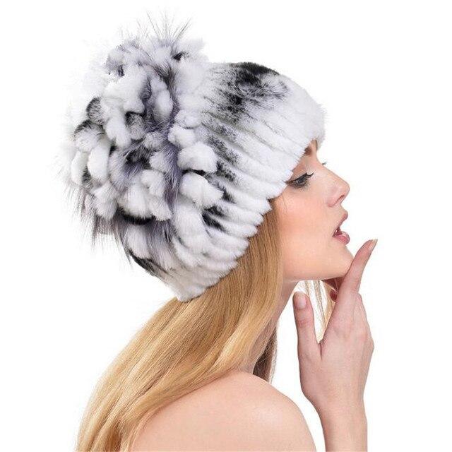 2016 New Luxury Women Mink Knit Hat Women Fashion Knit Fur Hat Rabbit Fur Female Fox Fur Thick Warm Ear Cap  A2493