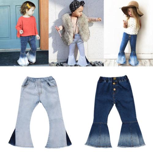 a11424c85ac Bebé niños niñas Denim Pantalones de campana inferior Jeans pierna ancha  Pantalones casuales diario niños niña