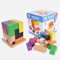 Educational Wood 3D Puzzle For Kids Adults Brainstorm Puzzles Russia Tetris Development Kids Toy Children Gift