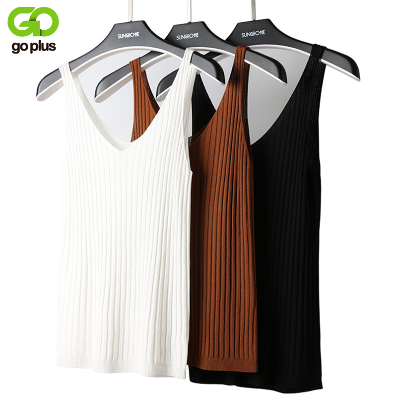 GOPLUS Summer Sexy V-Neck Knitted Tank Top Women Soft stripe Cotton Elastic Sleeveless Vest Ladies Casual Shirt Camisole Female