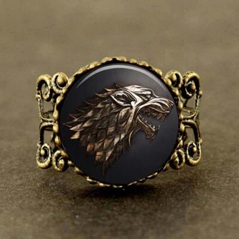 wolf US drama Game of Thrones Song of Ice and Fire ring 1pcs/lot bronze or steel Glass charm jewelry image