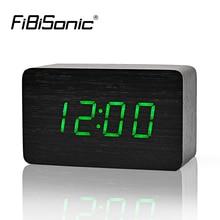 FiBiSonic деревянные Будильники с термометром, управление звуком деревянные светодиодные часы, цифровые настольные и настольные часы