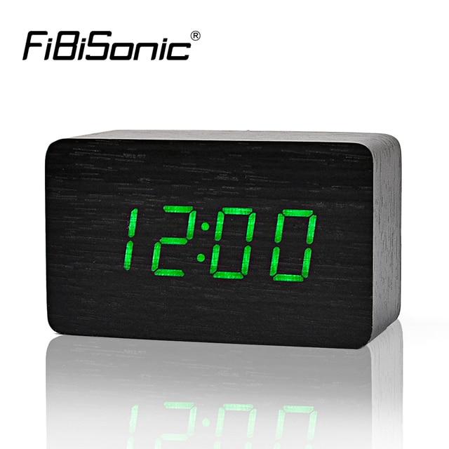 FiBiSonicปลุกไม้ที่มีเครื่องวัดอุณหภูมิ,ควบคุมเสียงไม้นาฬิกาLed,โต๊ะเขียนหนังสือดิจิตอลและนาฬิกาตั้งโต๊ะ