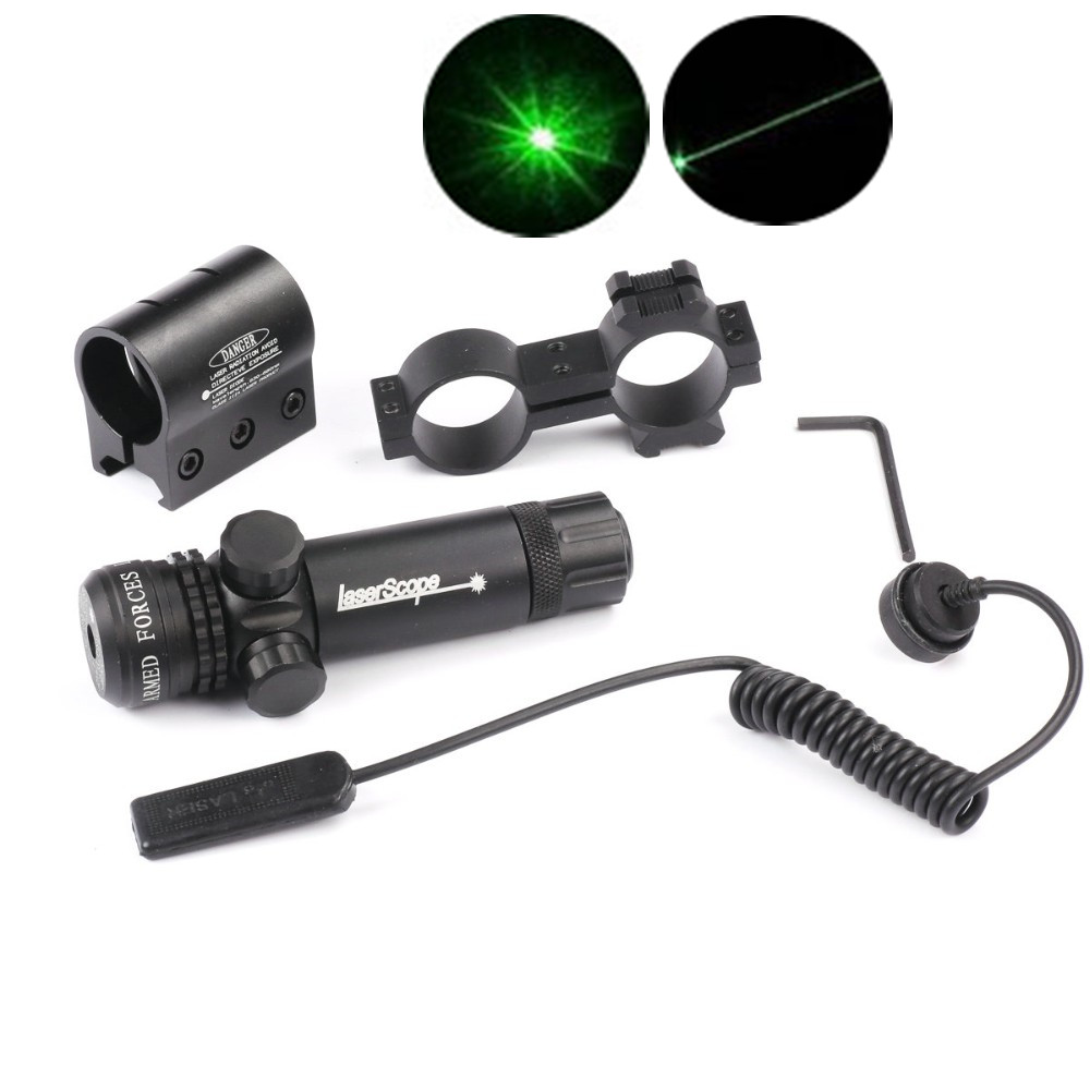 Green / Red Dot Laser Rifle Scope Sight Hunting Airsoft Gun Scope 20mm Rail Pressure Switch Laser Mount Barrel Mount Cap caza