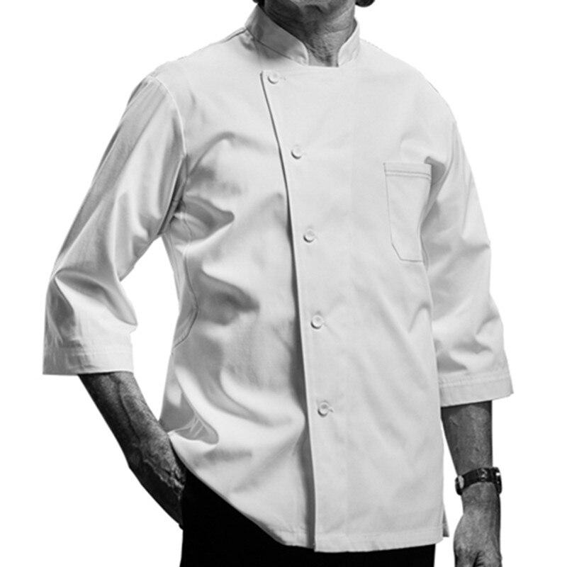White Black Short Sleeve Shirt Hotel Restaurant Kitchen Chef Uniform Barista Bistro Diner Baker Bar Catering Work Wear D36