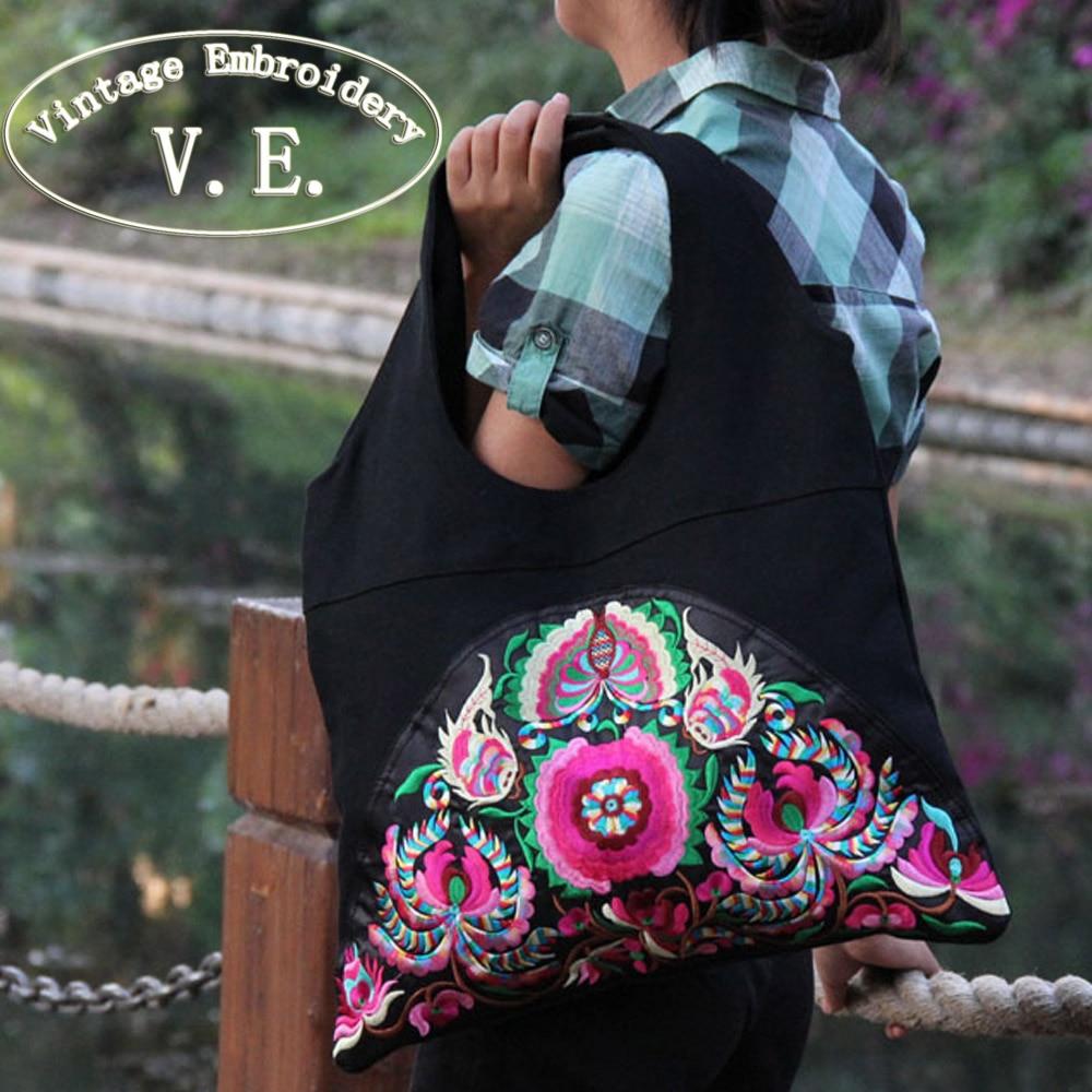 Vintage Nakış Milli Trend Etnik Çiçəklər Nakışlı Çantalar - Çantalar - Fotoqrafiya 2