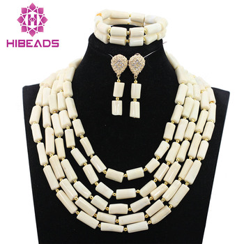Unique Design !Splendid Nigerian Wedding White Coral Beads Jewelry Set Brides Gift Coral Necklace Set Free Shipping HX895 фото