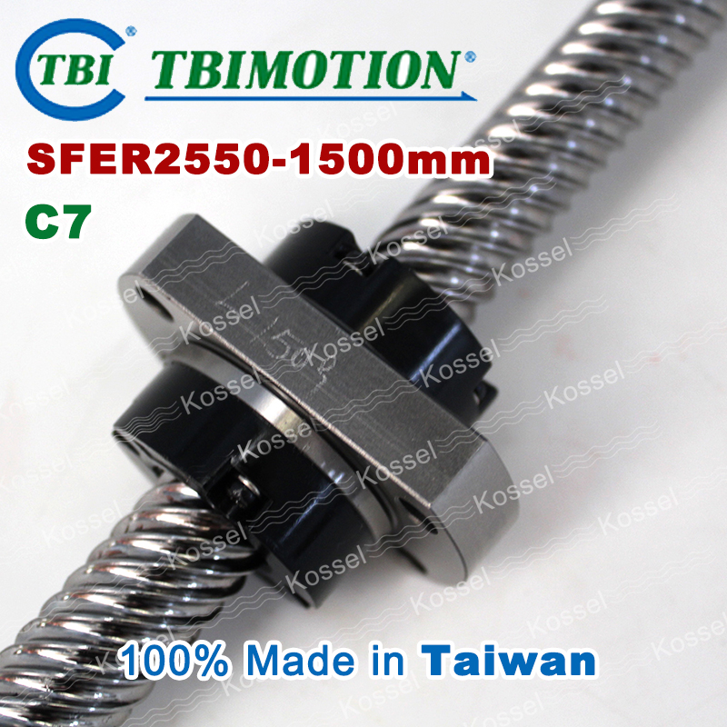 TBI ROLLED BallScrew 2550 SFE2550 / SFER2550-T2-D-F-C7 length 1500mm 2 rows steel ball nut винт tbi sfkr 0802t3d