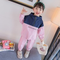 Unisex Clothing Sets Letter Patchwork Hooded Coats + Pants Girl Boys Two Piece Sport Suit Casual Toddler Kids Tracksuit Clothes