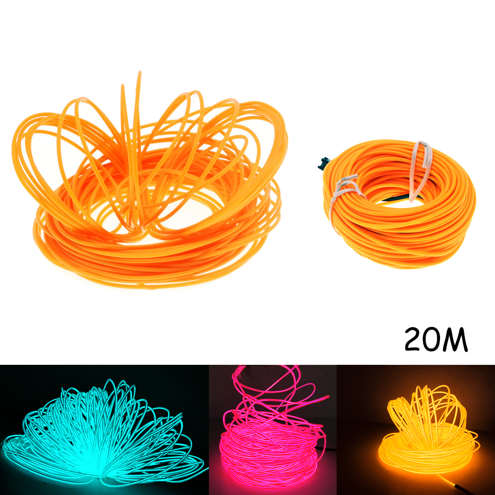 20M EL Led Flexible Soft Tube Wire Neon Glow Car Rope Strip Light Xmas Decor DC 12V car cigarette lighter powered flexible neon light glow el wire w drive yellow dc 12v 2m