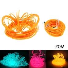 20M EL Led Flexible Soft Tube Wire Neon Glow Car Rope Strip Light Xmas Decor DC