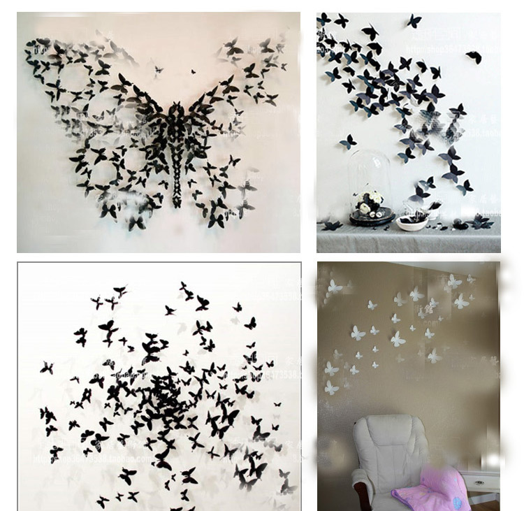 Hotsale Fashion 3D Stereo Art Butterfly Wall Stickers DIY Wall Decoration 3d  Butterfly Wall Decor Decorative Butterflies In Wall Stickers From Home U0026  Garden ...