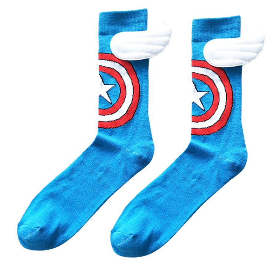 Handmade Fashion With Wings Captain America Cosplay Socks Cartoon Style DC Knee-High Summer Casual Personality Sock Funny Unisex