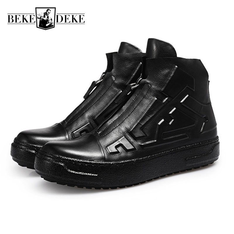 Luxury Genuine Leather Men Casual Shoes High Top Thick Platform Students Shoes Zipper Fashion Man Footwear Black Punk Streetwear hot sale fashion comfortable men casual shoes soft genuine leather high top zipper thick sole heighten man shoes size 38 44