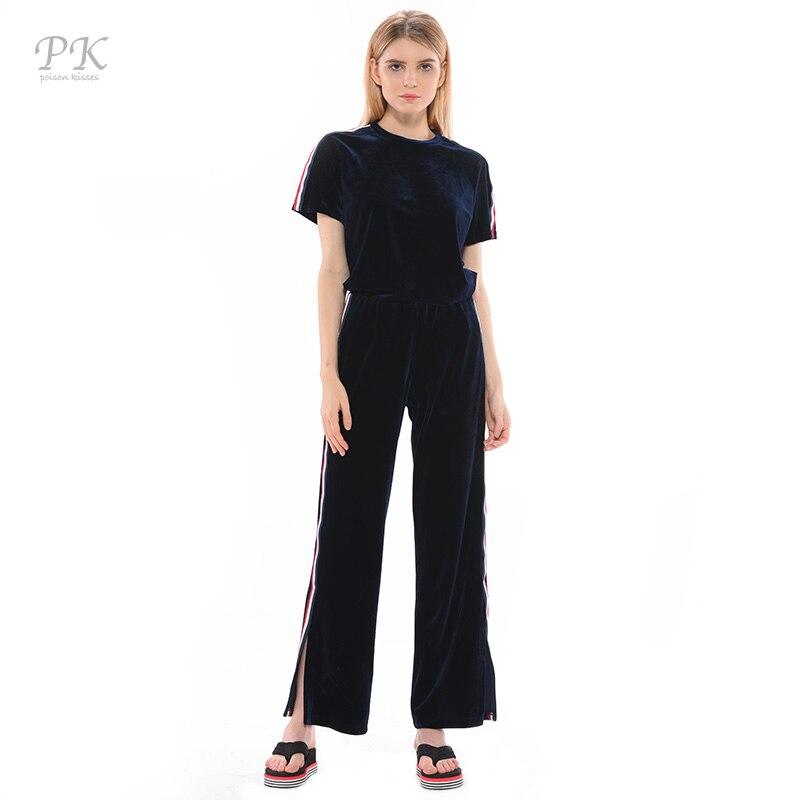 PK velours deux pièces ensemble été 2018 smoking bleu sport femmes 2 pièces tenues pour femmes ruban rondelle conjunto moleton feminino