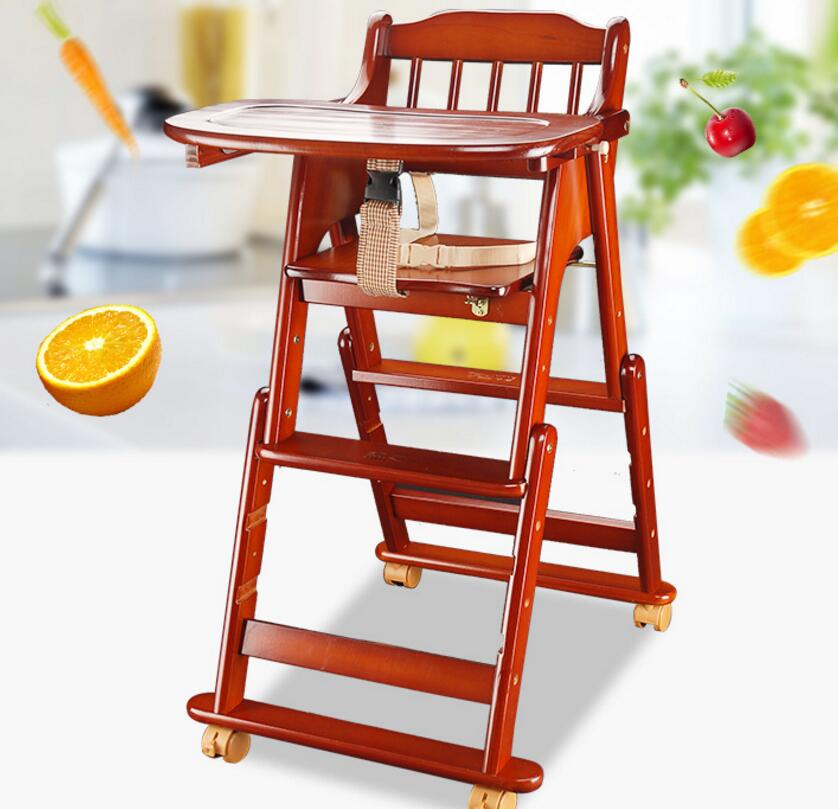 Solid Wood Baby Dining Chair Multifunctional Baby High Chair Portable Folding Baby Feeding Chair Rotary Plate Baby Chair C01 free shipping children s meal chair portable multifunctional baby dining chair for more than 6 month baby use