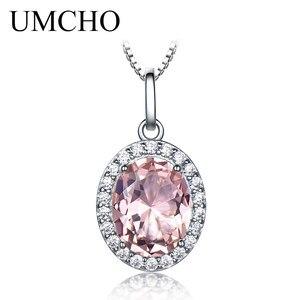 Image 4 - UMCHO Luxus Rosa Saphir Morganite Anhänger Für Frauen Echt 925 Sterling Silber Halsketten Link Kette Schmuck Engagement Geschenk Neue