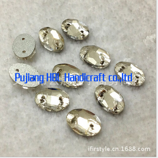 2 Holes Crystal Clear Sew on Buttons 7X10MM 100PCS Jewelry Making Accessaries