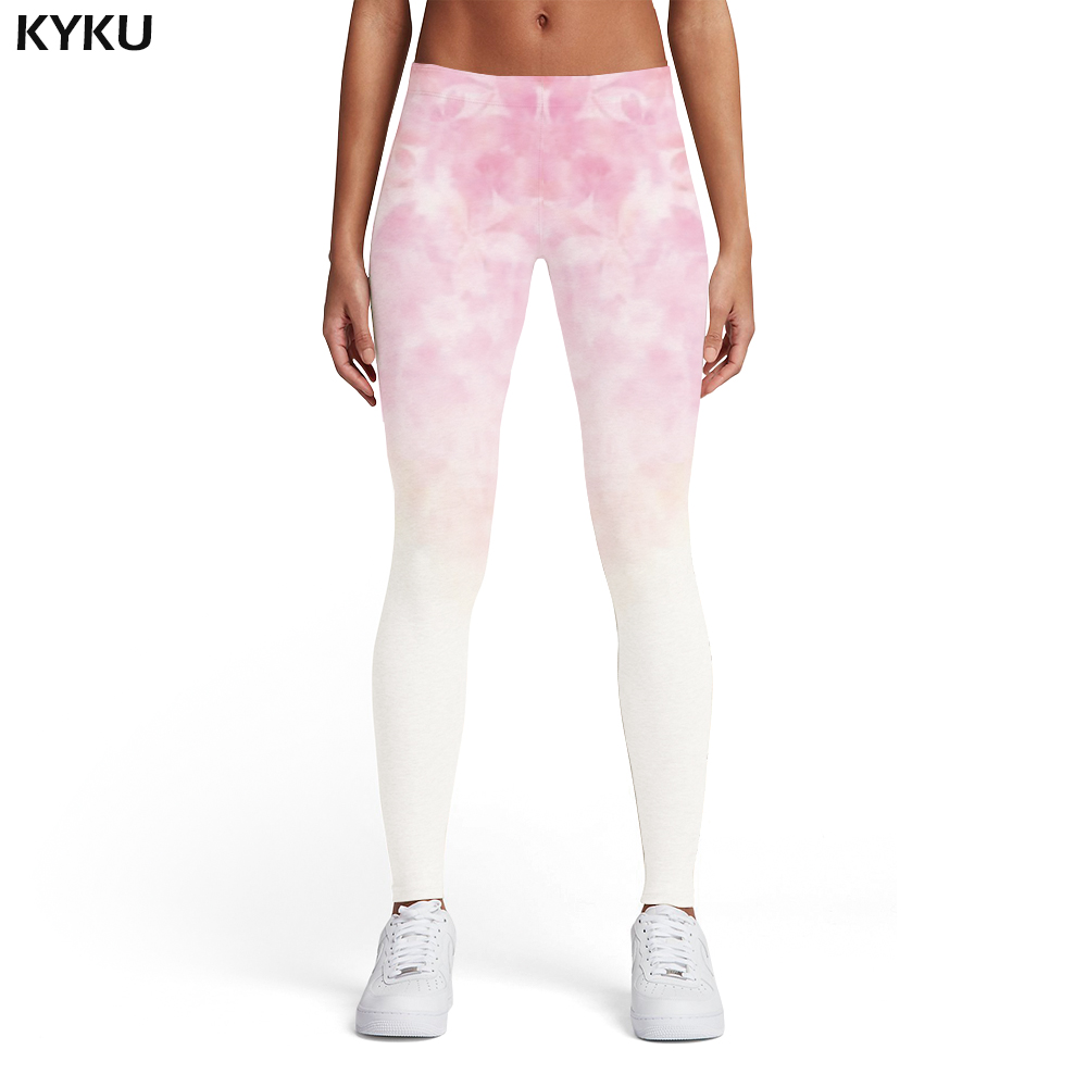 KYKU Brand Flower Leggings Women Pink Leggins Fantasy Ladies Gothic Trousers Colorful Spandex Womens Leggings Pants Jeggings