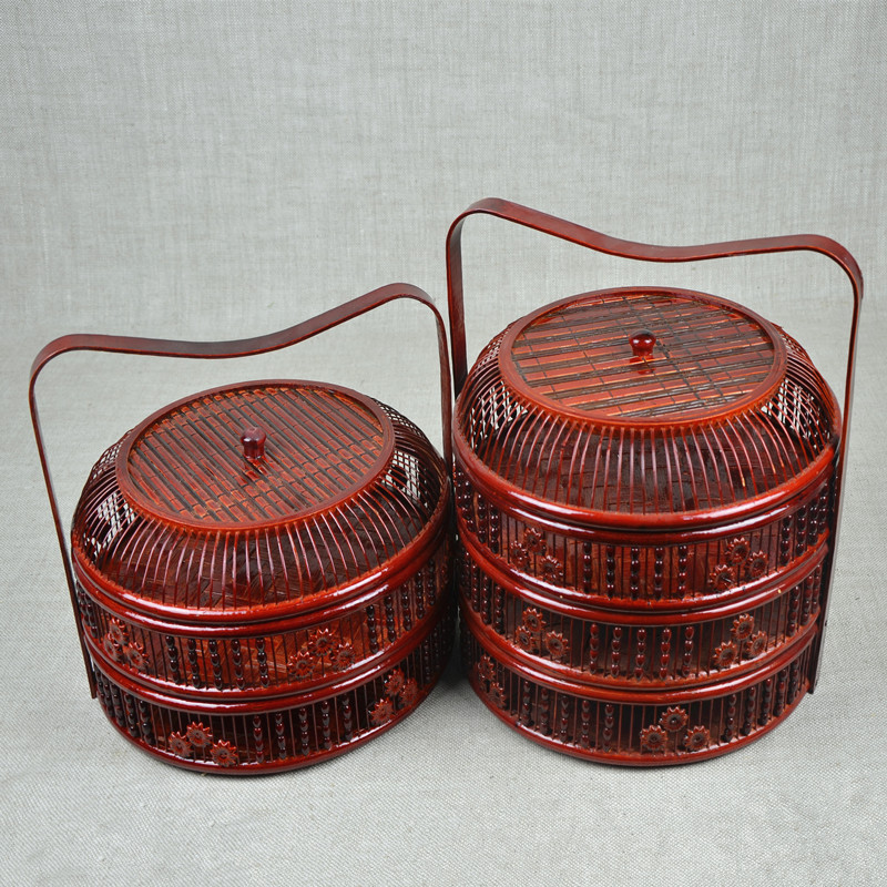 1PC Chinese Style Portable Bamboo Double-layer Wedding Gifts Fruit Bamboo Basket 25.5x24cm