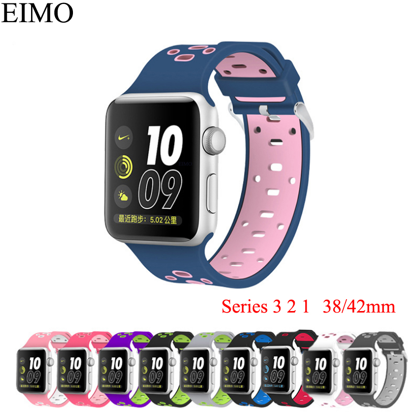 Silicone band correa for Apple Watch bands 42mm 38mm Accessories Wrist Bracelet Watchbands black Watch Strap for iwatch 3/2/1 colorful soft silicone sport band for apple watch bands 42mm wrist bracelet strap for apple watch series 3 2 1 iwatch watchbands