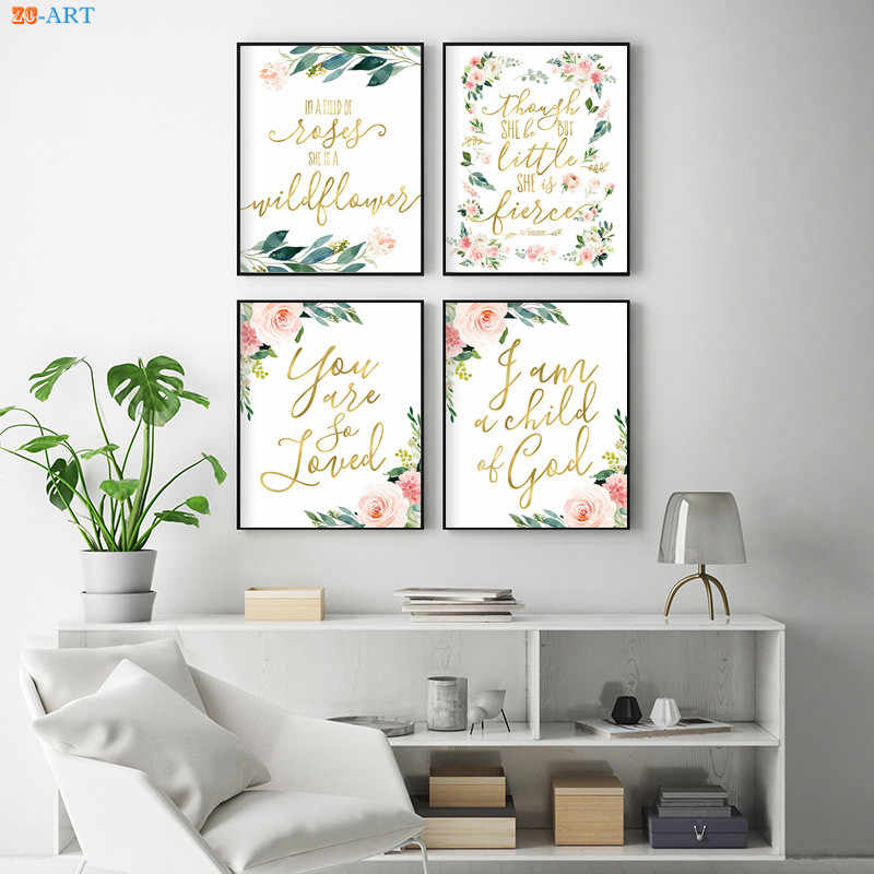 Nursery Poster Bible Verse Flowers Leaf Prints Scripture Wall Art Blush Pink Canvas Painting Picture for Living Room Home Decor