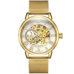 Image 5 - ORKINA Relógio Mecânico Ouro Branco Nova Moda Malha de Aço Inoxidável Strap Homens Esqueleto Relógios Top Marca de Luxo Masculino Relógio de Pulso