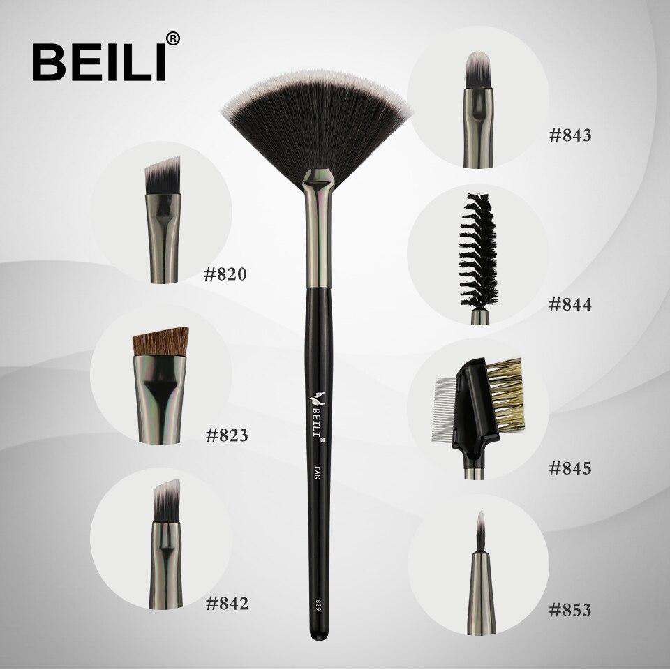 BEILI 1 pièce Ventilateur brosse pour Sourcils ventilateur À Lèvres Point Culminant Cils cheveux Synthétiques Maquillage Simple Brosse