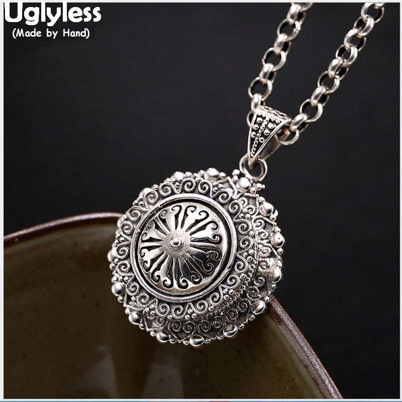 Uglyless Real 925 Sterling Silver Handmade Engraved Gaudencio Box Pendant without Chain Tibetan Buddhism Jewelry Openable Bijoux