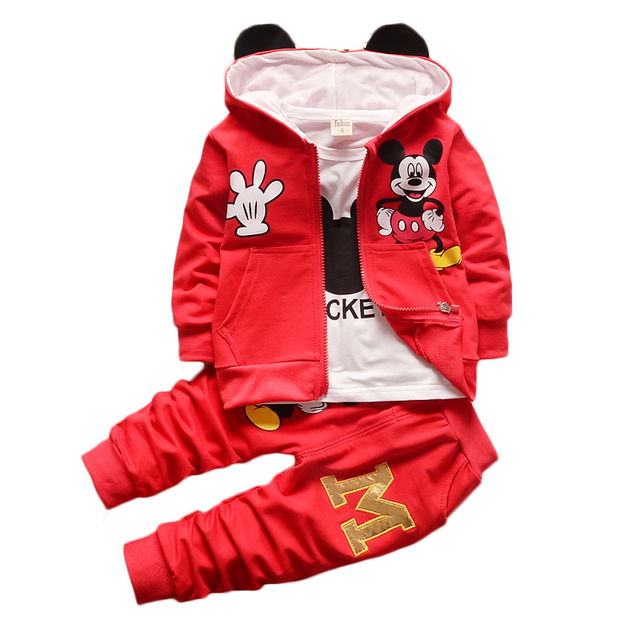 Kids Toddler Boys Clothing Set Spring Winter Hooded Coat Suits Fall Cotton Cute Baby Boys Clothes Spring 2017 New Mickey T657