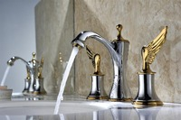 Free ship chrome and gold clour 8 inch widespread bathroom Lavatory Sink faucet mixer tap New wing Tap