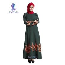 New flower print plus size turkish women abaya dress Islamic clothing for women fashion muslim dress robe adult
