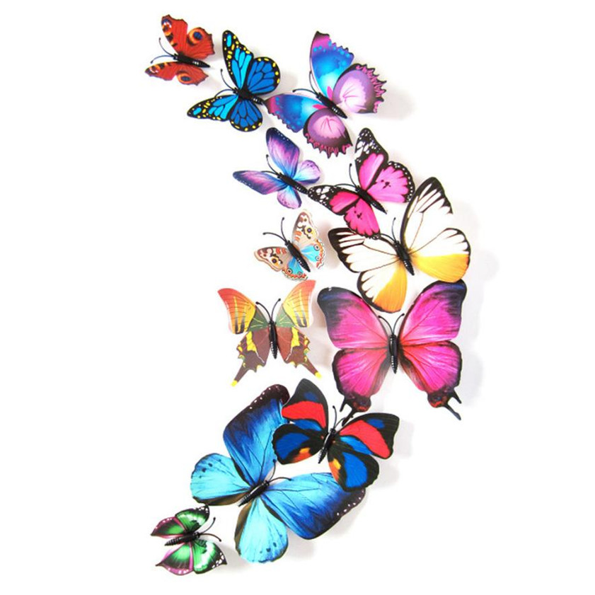 High Quality 2017 Art Wall Stickers 12pcs Decal Wall Stickers Home Decorations 3D Butterfly Rainbow Colorful B035