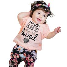 2pcs Toddler Baby Girls Clothes Set Letter Floral Print Tops+Pants Outfits
